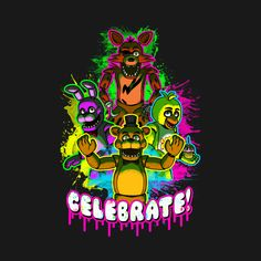 Five Nights at Freddy's Celebrate T Shirt. Freddy and the gang wanna party with you! Fantastic horror game, awesome tee!