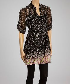 This Black & Fuchsia Floral Button-Up Chiffon Tunic - Women by Boulevard Apparel is perfect! #zulilyfinds