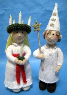 Alan Dart knitted Santa Lucia- just in time for the December celebration #kitting #pattern #Santa_Lucia