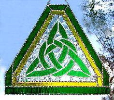 "Triangular Celtic Knot Suncatcher - Green & Yellow Stained Glass - 10"" x 10"" - $46.95 --- Celtic Designs, Irish Designs, Irish Sun Catchers - Glass Suncatchers, Stained Glass Décor, Stained Glass Sun Catchers -  Stained Glass Design - See more stained glass designs at www.AccentonGlass.com"