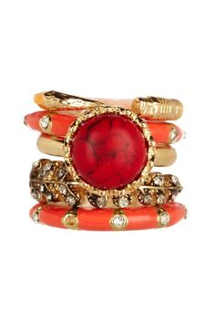 Blood Stone Ring Set by Jewelry Trend: Layering on @HauteLook