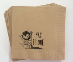 ORIGINAL By With Love + Ink~ Custom Where The Wild Things Are Wild One Birthday Cocktail Napkins, Set of 50