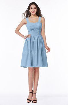 Sky Blue Classic A-line Thick Straps Sleeveless Chiffon Bridesmaid Dresses