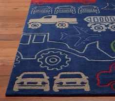 Trucks and tractors Carpet from PBK Pottery Barn Kids. Great rug to match Caramel Expressions Construction themed artwork https://www.etsy.com/listing/99868743/