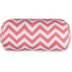 Majestic Home Goods Chevron Indoor Outdoor Bolster Pillow (Coral) ($56) ❤ liked on Polyvore featuring home, bed & bath, bedding, bed pillows and coral