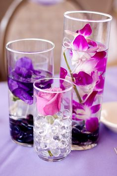 Purple Wedding Centerpieces ~ Wedding at Hornblower Cruises & Events, CA