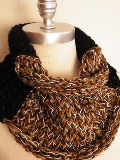 Chunky Cowl Knitwear Scarf Black Mixed Fiber by jamiesierraknits, $35.00