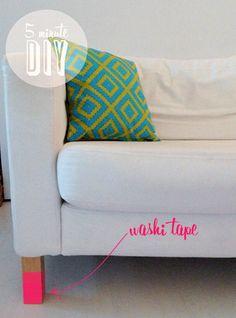 5 minute DIY - washi tape sofa legs