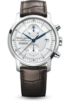 Descubra el cronógrafo con correa de cuero para hombre Classima 8692, diseñado por Baume et Mercier, fabricante de relojes suizos.