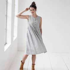 Linen loose sleeveless MAMA dress  / Washed and soft linen