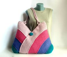 Modern beach handbag, summer bag, picnic tote bag, hand knitted bag, bag in emerald green, dark lilac, light and dark pink colors