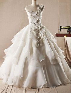 Tulle One-Shoulder Ball Gown Wedding Dress with Tiered Ruffle Skirt - Bridal Gowns - RainingBlossoms