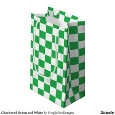 Checkered Green and White Small Gift Bag