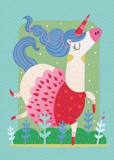 Ballerina Art Print by mariajosedaluz Illustration Kawaii, Happy Birthday Illustration, Unicorn Illustration, Unicorn Art, Cute Unicorn, Art Fantaisiste, Ballerina Art, Textile Pattern Design, Unicorns And Mermaids