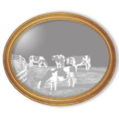 """This """"Amazing Grace"""" cow oval etched mirror is truly a work of art. $80.00"""
