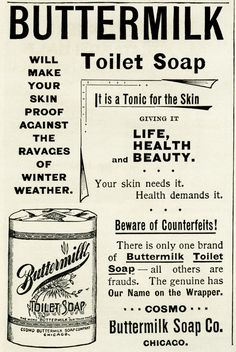 Old Design Shop ~ free digital image: Buttermilk Toilet Soap vintage advertisement vintage aged ephemera