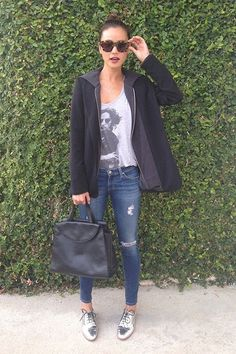 Jamie Chung wearing Reese + Riley Vixen hooded blazer AG Adriano Goldschmied The Legging Ankle Jeans Kate Spade Saturday Leather Oxfords in Metallic Silver Kate Spade Saturday The A Satchel in Black Jamie Chung, Star Fashion, Look Fashion, Womens Fashion, Milan Fashion, Fashion Styles, Hooded Blazer, Silver Shoes, Silver Brogues