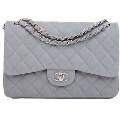 Chanel Pastel Blue Quilted Caviar Jumbo Classic 2.55 Double Flap Bag |... ($5,750) ❤ liked on Polyvore featuring bags, handbags, purses, chanel, bolsas, clutches, blue handbags, quilted hand bags, blue quilted handbag and blue purse