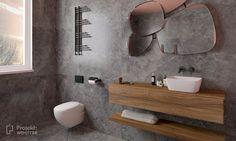 Niebanalna łazienka - szary kamień + intensywny kolor - Double Vanity, Bathtub, Bathroom, Standing Bath, Washroom, Bath Tub, Bathtubs, Bathrooms, Bath