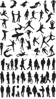 People silhouette involved in various sports and ordinary citizens of our planet. In archive 2