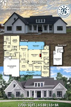 Architectural Designs Exclusive Farmhouse Plan comes to life in Indiana!… Architectural Designs Exclusive Farmhouse Plan comes to life in Indiana! New House Plans, Dream House Plans, My Dream Home, Dream Houses, Log Houses, Home Plans, 4 Bedroom House Plans, Farmhouse Design, Farmhouse Style