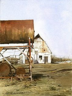"""""""Weathered White"""" by Dean Mitchell. Amazing watercolor, bright white sets off gorgeous contrast and incredible details."""