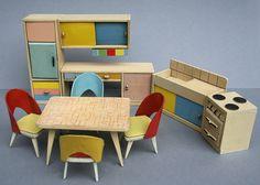 Plastic and wood Pastellküche (Pastel Kitchen) dollhouse furniture set, West Germany, 1950-59, by Wichtelmarke.