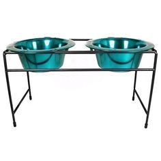 Platinum Pets Modern Double Diner Stand with Two 8 Cup Rimmed Bowls, Teal ** Want to know more, click on the image.