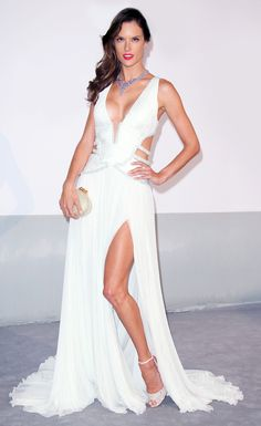 Alessandra Ambrosio in a Roberto Cavalli gown and Chopard jewelry at #Cannes2014.