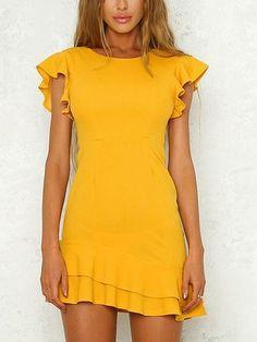 Yellow Open Back Ruffle Sleeve Mini Dress White Sexy Spaghetti Strap V Neck Backless Lace Maxi Prom Dress Source by bethnyroney. Ruffle Sleeve Dress, Mini Dress With Sleeves, White Mini Dress, The Dress, Yellow Dress Casual, Yellow Dress Summer, Summer Dresses, Yellow Outfits, Maternity Mini Dresses