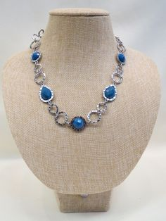 ADO | Silver Chain Blue Stone Necklace