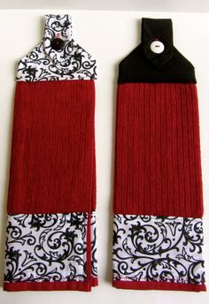 Red and Black Scroll  Hanging Kitchen Towel Set by ChrystiCorner, $20.00