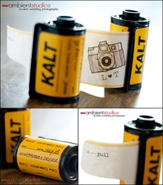 diy film invites.  I would go to that party.  Clever