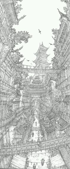 Architecture in Super Detailed Fantasy Drawings. See more art and information about Jung Min Seub, Press the Image. Fantasy Drawings, Fantasy Kunst, Fantasy Art, Art Drawings, Fantasy Landscape, Landscape Art, Drawing Sketches, Art And Illustration, Drawn Art