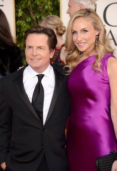 Michael J. Fox and Tracy Pollan: Michael J. Fox and Tracy Pollan posed on the Golden Globe carpet.