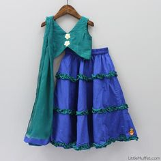 Pre Order: Green And Navy Blue Ghagra