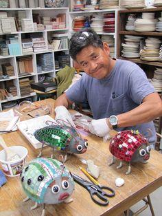 Best 12 Making the crazy papier mache heads – SkillOfKing. Mosaic Wall, Mosaic Glass, Mosaic Tiles, Glass Art, Mosaics, Stained Glass, Mosaic Crafts, Mosaic Projects, Art Projects