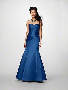 A Long Bridesmaid Dress with a Floor-Length Mermaid Silhouette Skirt, Wrapped Bodice, Corset Style Back, and Strapless Sweetheart Neckline