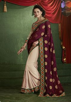 Dynamic Jacquard Wine Half And Half #DesignerSaree   #halfsaree #indiansaree #craftshopsindia