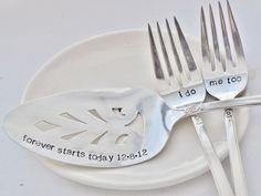 I Do, Me Too Forks and Cake Server Wedding Set