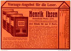 Original-Werbung/ Anzeige 1909 - HENRIK IBSEN - DRAMATISCHE WERKE - ca.180 x 130 mm