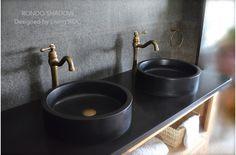 """16"""" Round Black Granite Stone Vessel Sink - RONDO SHADOW"""