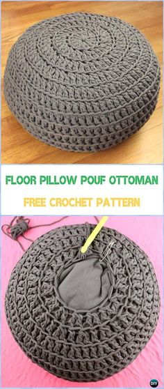 Crochet Poufs & Ottoman Free Patterns & DIY Tutorials Crochet Floor Pillow Pouf Ottoman Tutorial - C Crochet Diy, Crochet Pouf Pattern, Crochet Pillow Patterns Free, Crochet Simple, Knitted Pouf, Crochet Cushions, Crochet Gifts, Tutorial Crochet, Crochet Home Decor