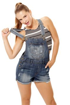Basic Shorts Overall - Medium Blue