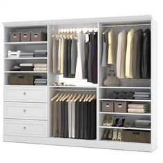 Bestar Storage kit - The efficiency of the Versatile collection by Bestar allows you to enjoy your living space.From the wall unit to the wall bed, furniture pieces in the Bestar Versatile Collection combine practicality . 3 Drawer Storage Unit, Wall Storage, Closet Storage, Closet Organization, Storage Organization, Closet Shelving, Closet Drawers, Bedroom Storage, Front Closet