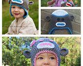 Crochet Pattern - Prince and Princess Sock Monkey Beanie, Hat (Newborn - 10 Years)