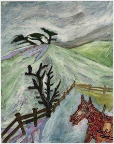 Peter Doig (British, b. 1959), Barn Horse, 1986. Oil on paper, 72.5 x 57.5 cm