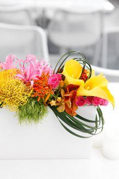 modern yellow and pink centerpiece #weddingcenterpieces #receptionflowers