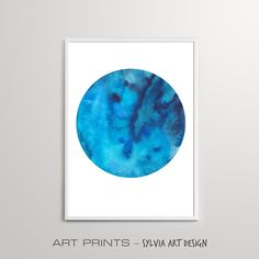 Watercolor Circular Blue Abstract Wall Art Print, Downloadable Watercolour Abstract Painting, Digital Download, Modern Home Decor, Poster Blue Abstract, Abstract Wall Art, Watercolor Paintings Abstract, Watercolour, Printable Wall Art, Different Colors, Wall Art Prints, Posters, Studio
