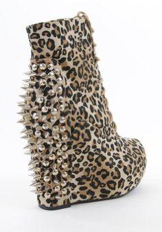 huge discount 3d364 ec052 Amazon.com Studded Spike Leopard Print Lace up Ankle Platform Wedge  Booties Shoes
